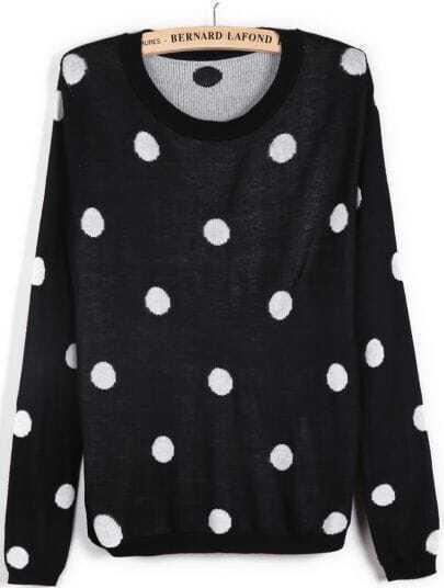 Black Long Sleeve Polka Dot Slim Sweater