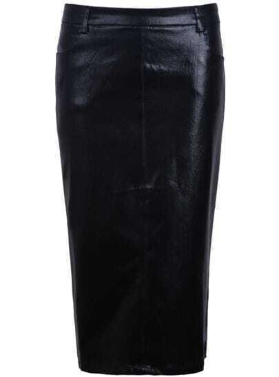 Black Shine Denim Bodycon Skirt
