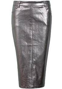 Gold Shine Denim Bodycon Skirt