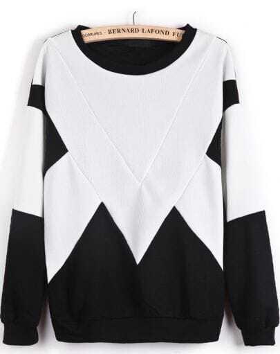 White Contrast Black Geometric Print Sweatshirt