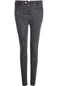 Black Stars Print Skinny Pant