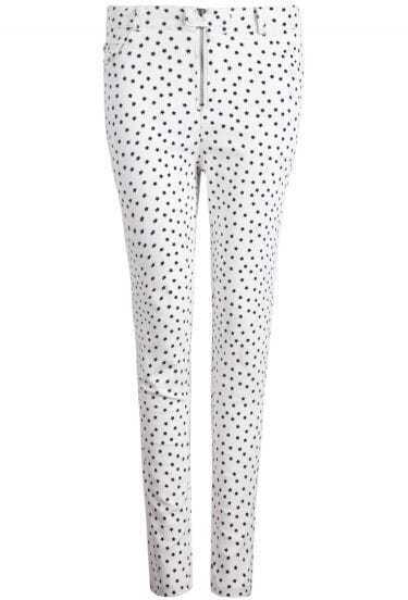 White Stars Print Skinny Pant