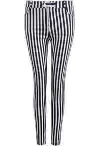 Black White Vertical Stripe Skinny Pant
