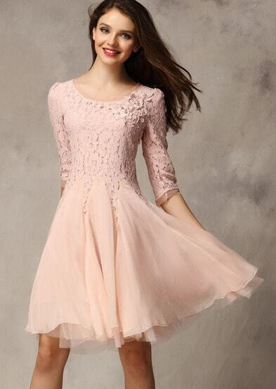 Pink Coctel Half Sleeve Lace Bead Chiffon Babydoll Dress pictures