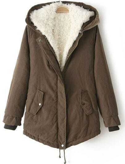 Coffee Hooded Long Sleeve Drawstring Parka