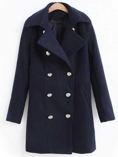 Abrigo solapa doble botonadura manga larga-Marino