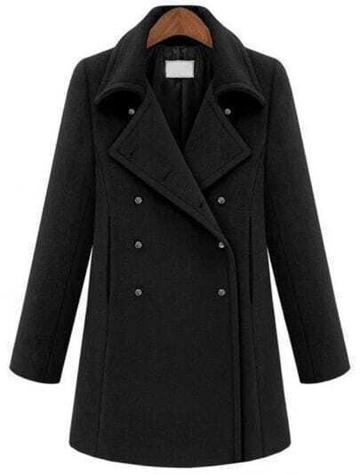 Black Lapel Long Sleeve Metal Buttons Coat