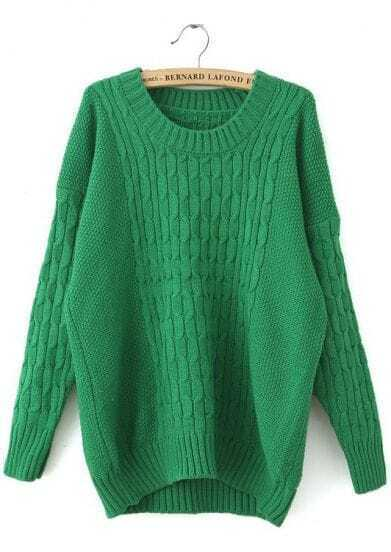 Green Long Sleeve Loose Cable Knit Sweater