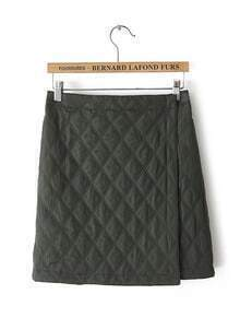Army Green Elastic Waist Diamond Patterned Skirt