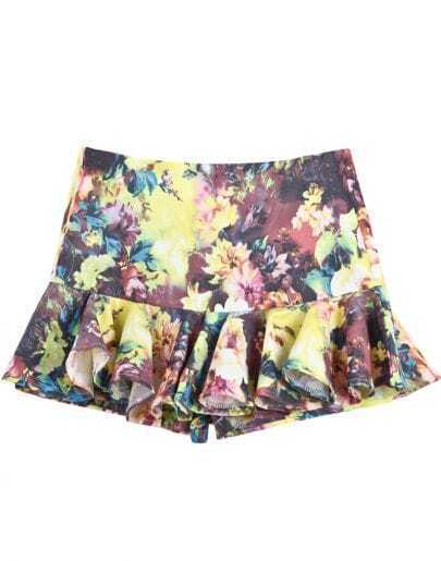 Yellow Floral Ruffle Mini Skirt