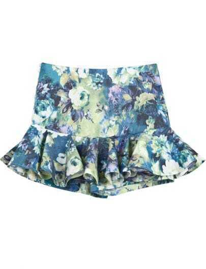 Blue Floral Ruffle Mini Skirt