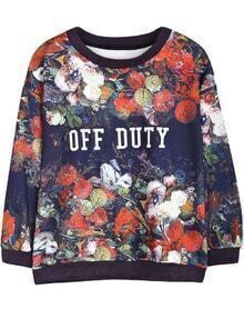 Purple Long Sleeve Floral OFF DUTY Print Sweatshirt