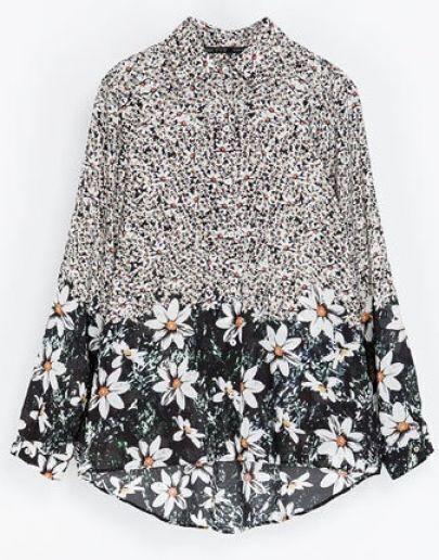 Multi Long Sleeve Lapel Floral Print Blouse
