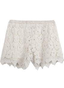 Apricot Hollow Lace Shorts