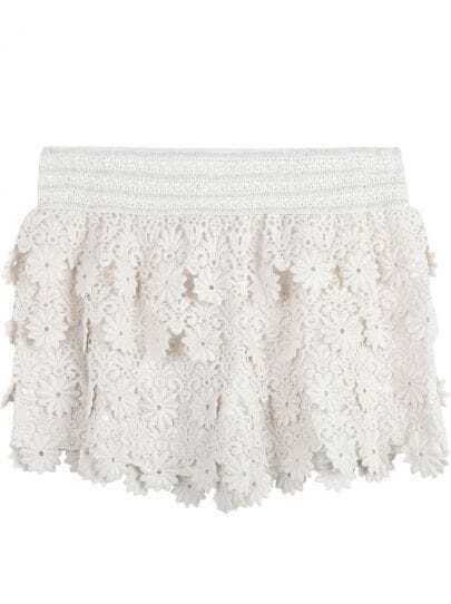 Apricot Elastic Waist Lace Shorts