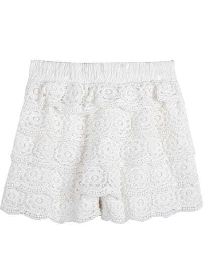 White Elastic Waist Lace Shorts
