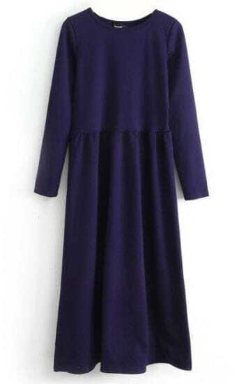 Blue Long Sleeve Elastic Pleated Dress