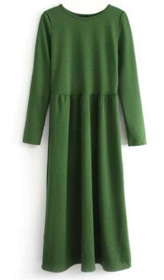 Green Long Sleeve Elastic Pleated Dress