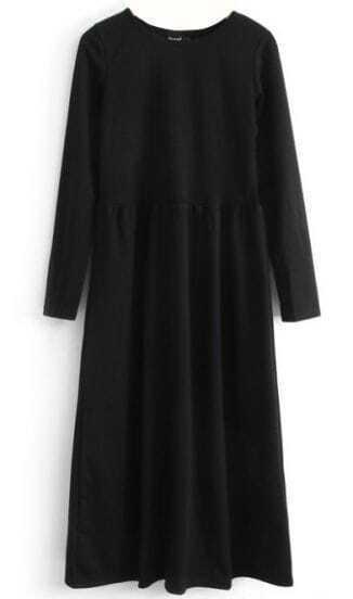Black Long Sleeve Elastic Pleated Dress