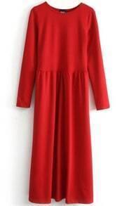 Red Long Sleeve Elastic Pleated Dress