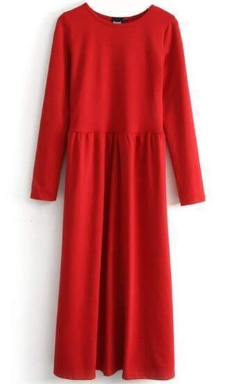 Red Long Sleeve Elastic Pleated Dress