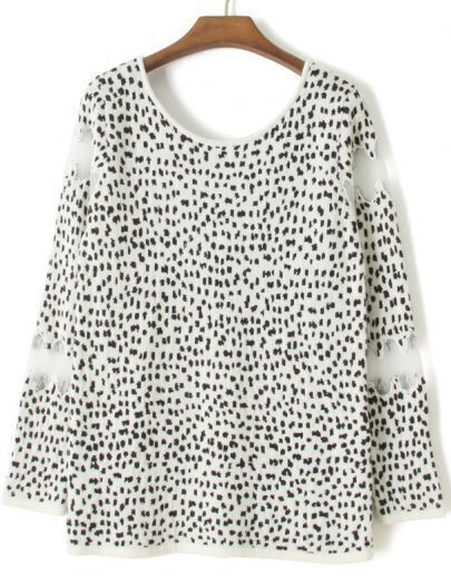 White Long Sleeve Contrast Mesh Yoke Leopard Sweater
