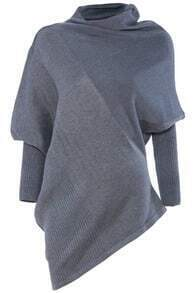 Grey Collapse Of Shoulder Batwing Pullovers Sweater