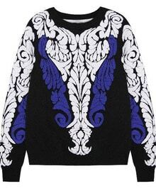 Black Long Sleeve Baroque Embossed Knit Sweater