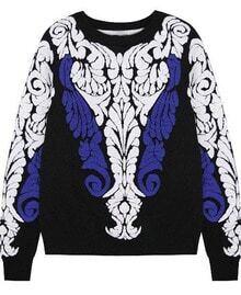 Black Long Sleeve Baroque Embossed Knit Sweater
