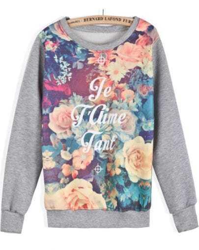Grey Long Sleeve Floral Letters Print Sweatshirt