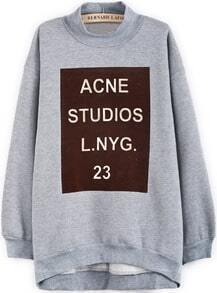 Grey Stand Collar Long Sleeve Letters Print Sweatshirt