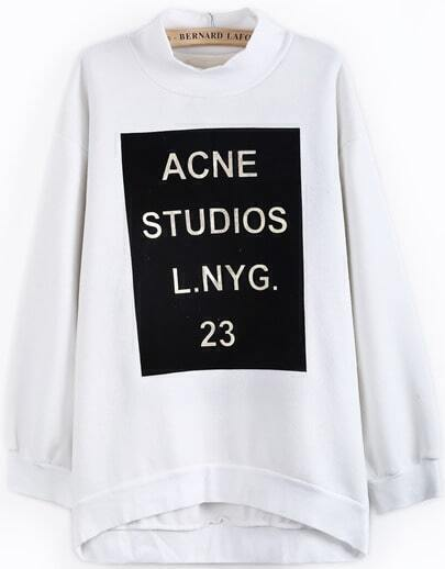 White Stand Collar Long Sleeve Letters Print Sweatshirt