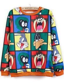 Multi Long Sleeve Cartoon Characters Print Sweatshirt