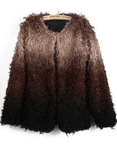 Khaki Gradients Long Sleeve Faux Fur Coat