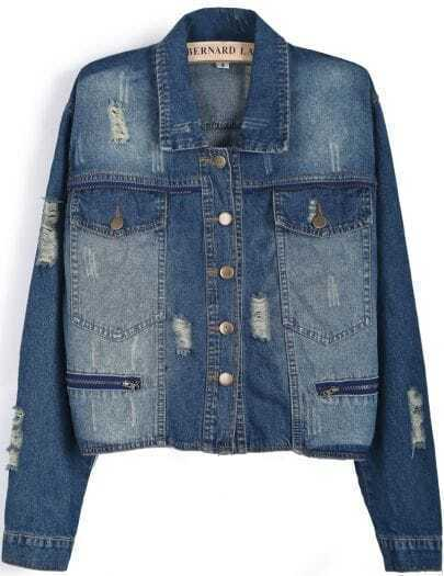 Blue Lapel Long Sleeve Bleached Ripped Denim Jacket