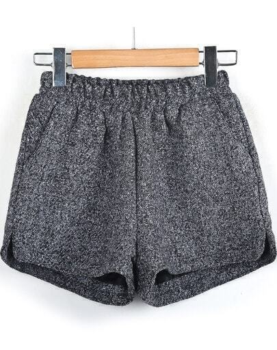 Grey Elastic Waist Tweed Shorts