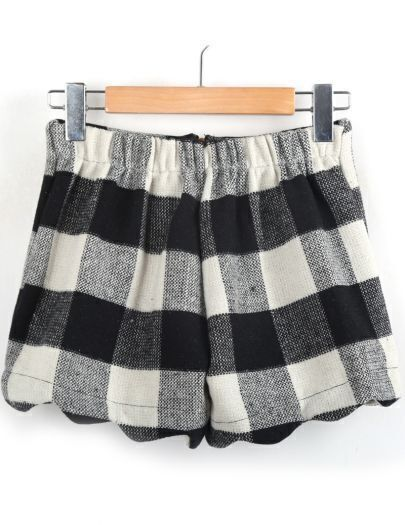 Black White Plaid Elastic Waist Shorts