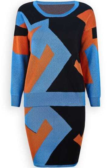 Blue Long Sleeve Geometric Print Knit Top With Skirt