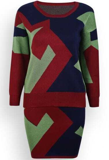 Green Long Sleeve Geometric Print Knit Top With Skirt