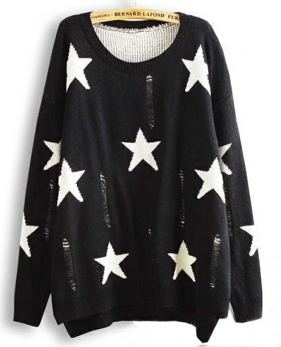 Black Long Sleeve Stars Pattern Ripped Asymmetric Sweater
