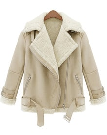 Beige Lapel Long Sleeve Zipper Wool Coat