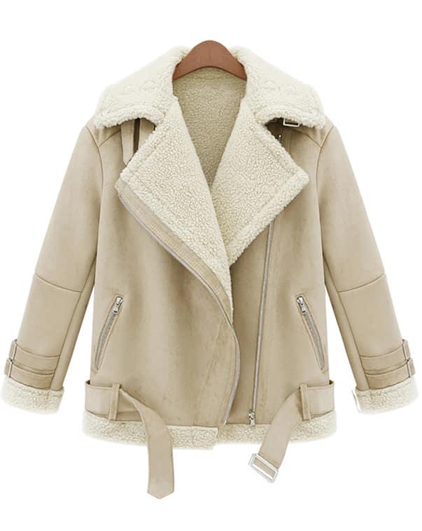 Beige Lapel Long Sleeve Zipper Wool Coat -SheIn(Sheinside)