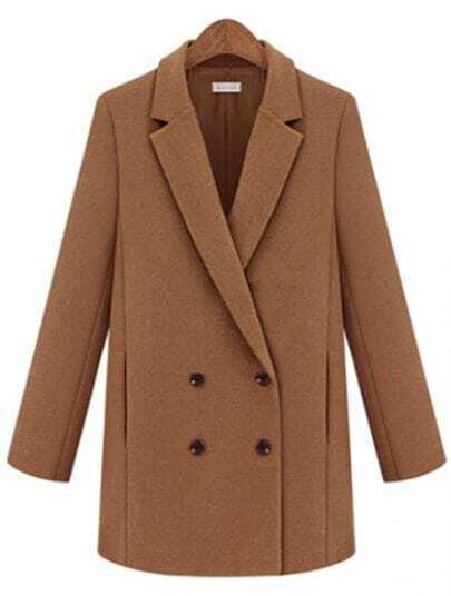 Camel Notch Lapel Long Sleeve Double Breasted Coat