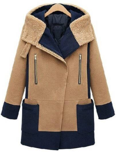 Abrigo con capucha de lana combinado marino manga larga-Camello