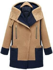 Camel Contrast Navy Hooded Long Sleeve Woolen Coat