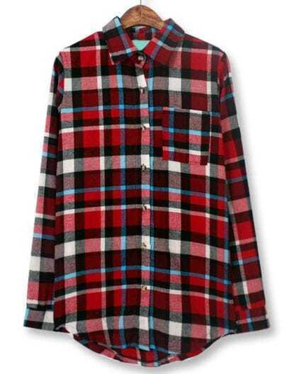 Red White Lapel Long Sleeve Plaid Pocket Blouse