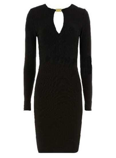 Black V Neck Long Sleeve Slim Bodycon Dress