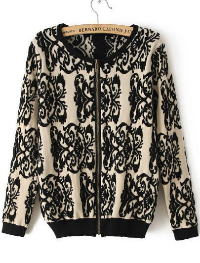 Black Long Sleeve Vintage Floral Knit Sweater