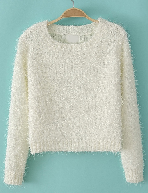 White Long Sleeve Fluffy Crop Sweater -SheIn(Sheinside)