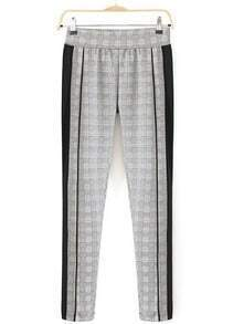 Grey Slim Plaid Houndstooth Pant